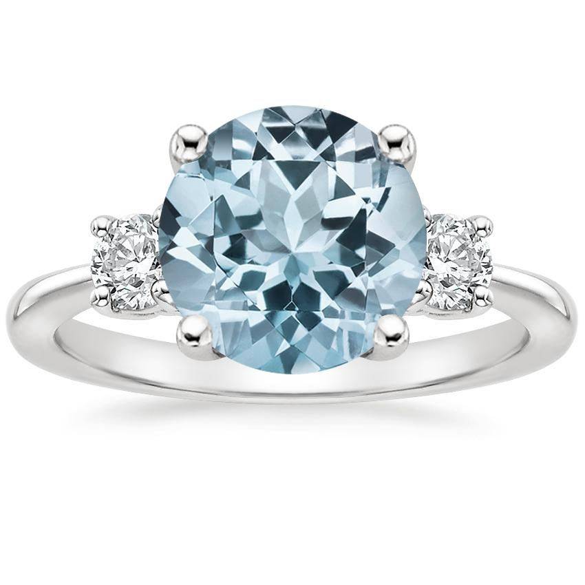 Aquamarine Serena Diamond Ring (1/3 ct. tw.) in 18K White Gold