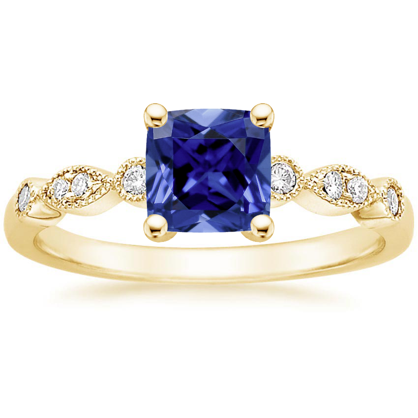 Yellow Gold Sapphire Tiara Diamond Ring (1/10 ct. tw.)
