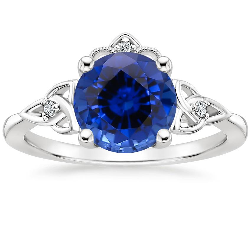 Sapphire Celtic Crown Diamond Ring in 18K White Gold