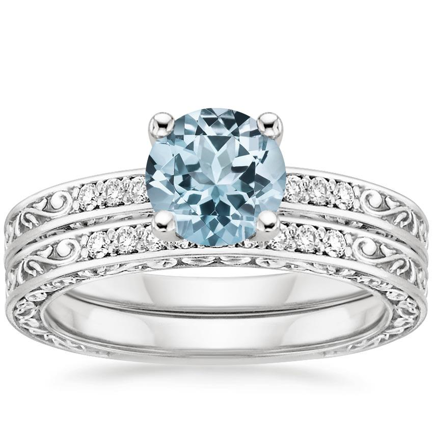 PT Aquamarine Delicate Antique Scroll Diamond Bridal Set, top view