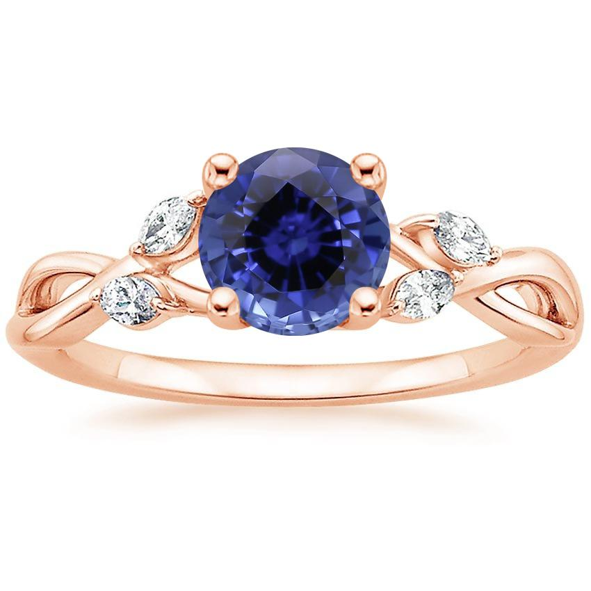 Rose Gold Sapphire Willow Diamond Ring (1/8 ct. tw.)
