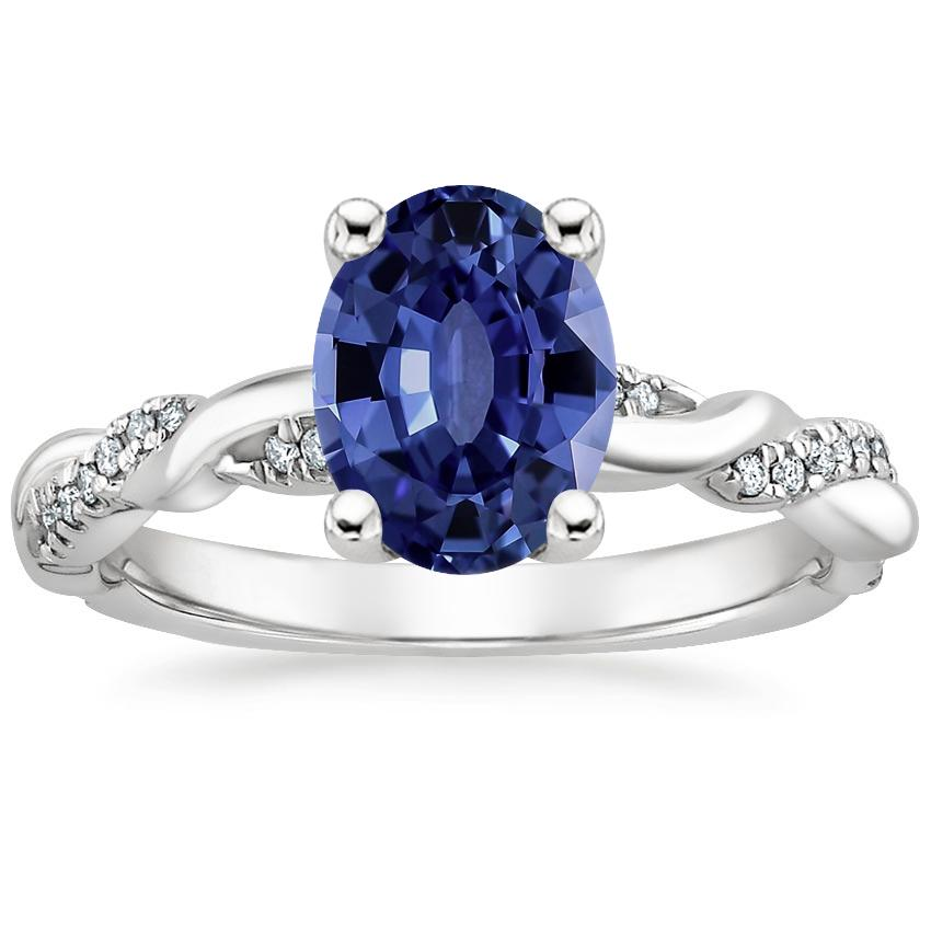 Sapphire Tressa Diamond Ring in 18K White Gold