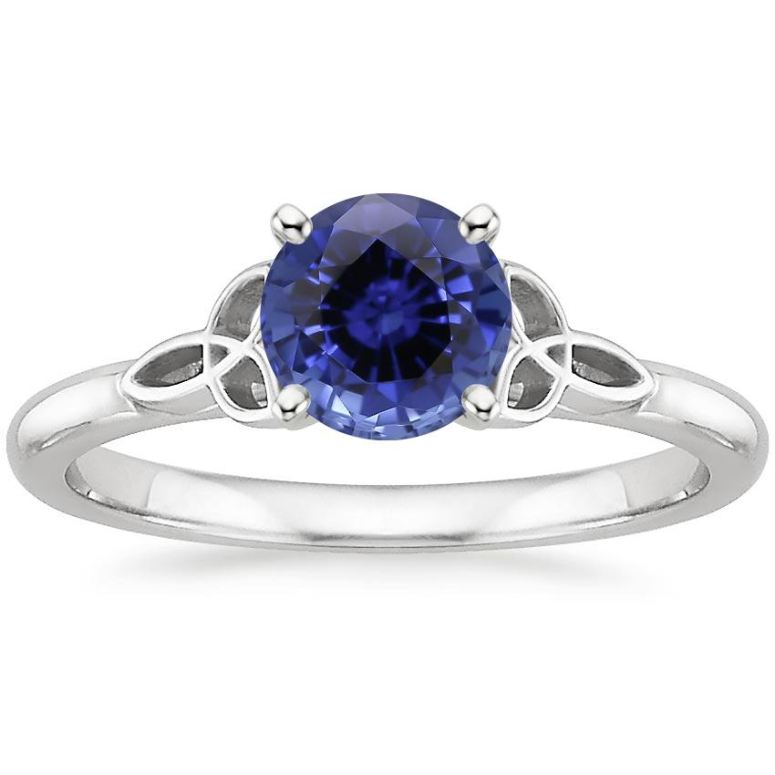 Sapphire Celtic Love Knot Ring in 18K White Gold