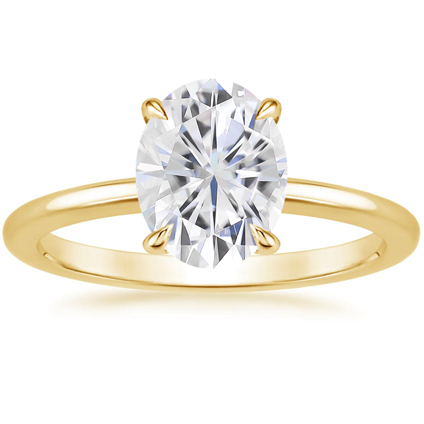 Yellow Gold Moissanite Secret Halo Diamond Ring