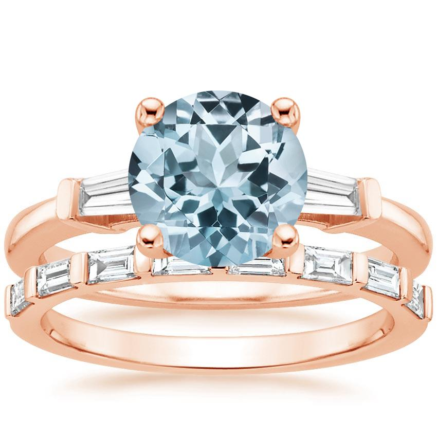 14KR Aquamarine Tapered Baguette Diamond Ring (1/5 ct. tw.) with Barre Diamond Ring (1/4 ct. tw.), top view