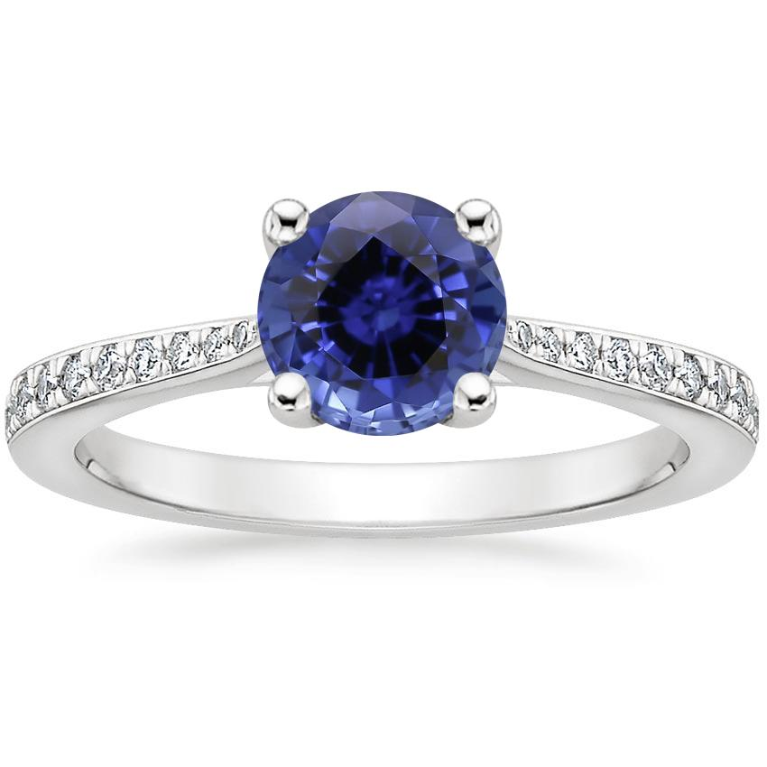 Sapphire Geneva Diamond Ring in 18K White Gold