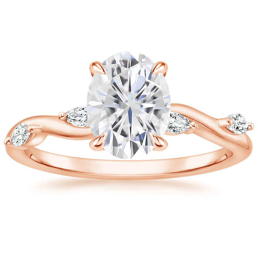 Rose Gold Moissanite Winding Willow Diamond Ring