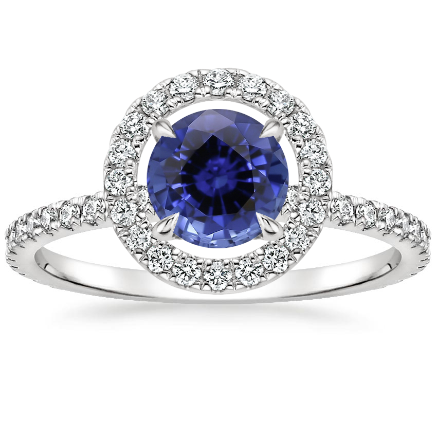 Sapphire Aura Diamond Ring in 18K White Gold
