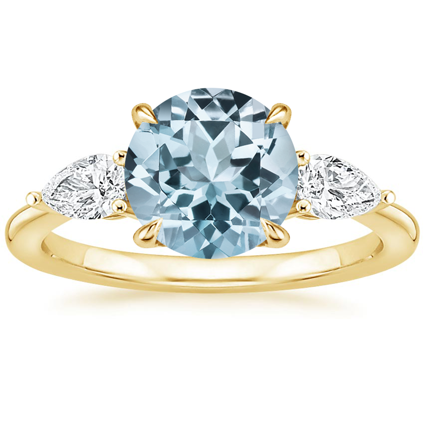 Yellow Gold Aquamarine Opera Diamond Ring