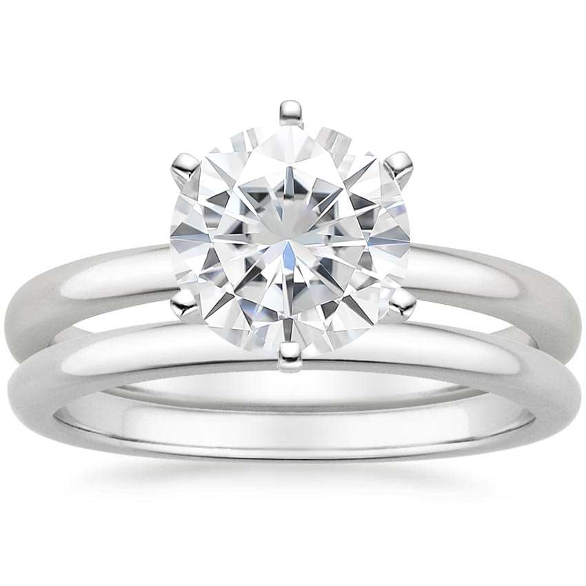 18KW Moissanite Six-Prong 2mm Comfort Fit Bridal Set, top view