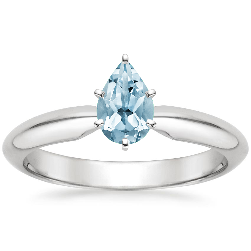 Aquamarine Six-Prong Classic Ring in 18K White Gold