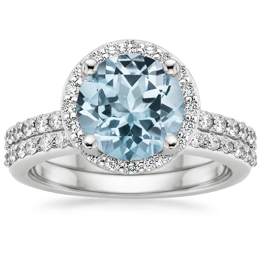 18KW Aquamarine Halo Diamond Ring with Side Stones (1/3 ct. tw.) with Petite Shared Prong Diamond Ring (1/4 ct. tw.), top view