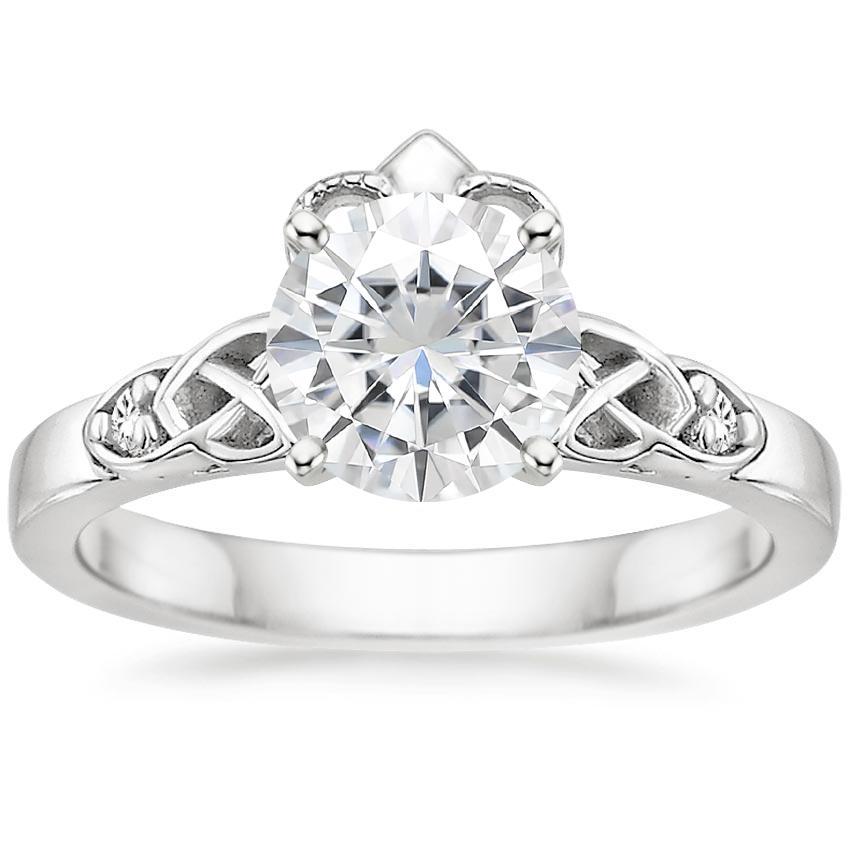 moissanite celtic claddagh diamond ring in 18k white gold. Black Bedroom Furniture Sets. Home Design Ideas