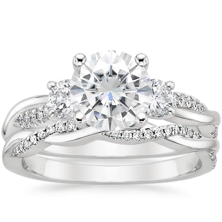 18KW Moissanite Three Stone Petite Twisted Vine Diamond Bridal Set (1/2 ct. tw.), top view