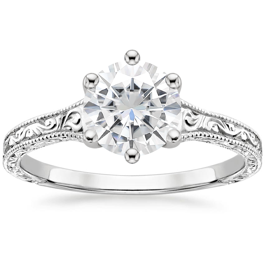 Moissanite Hudson Ring in 18K White Gold