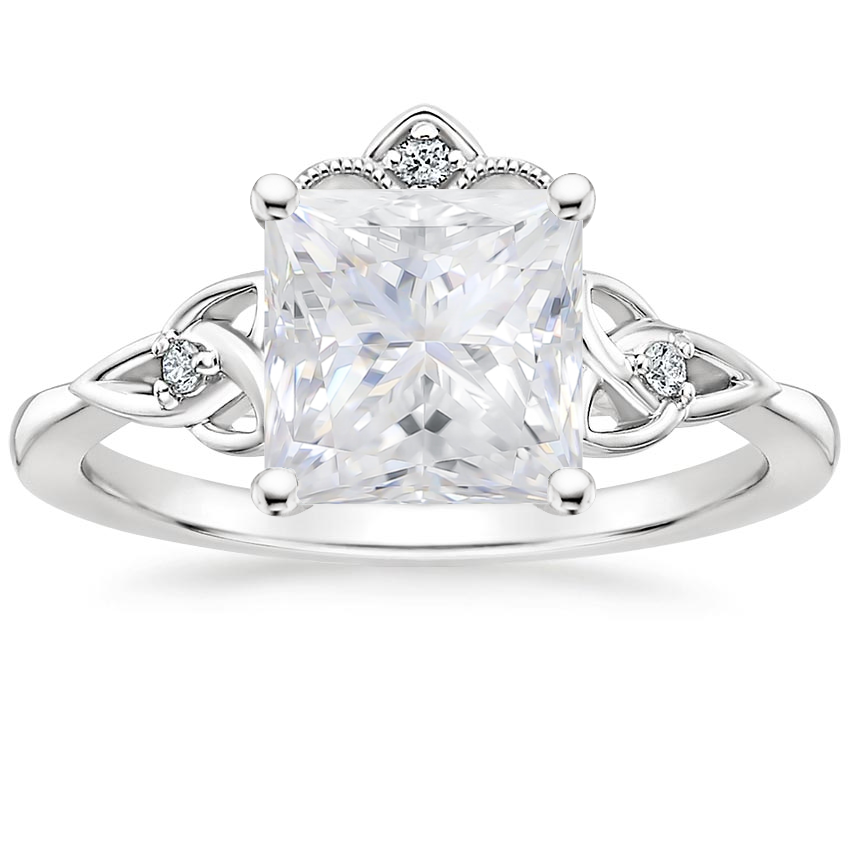 Moissanite Celtic Crown Diamond Ring in Platinum