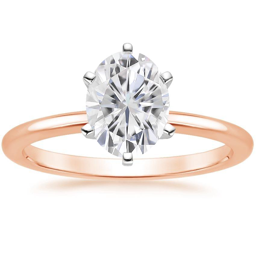 Rose Gold Moissanite Six-Prong Petite Comfort Fit Ring