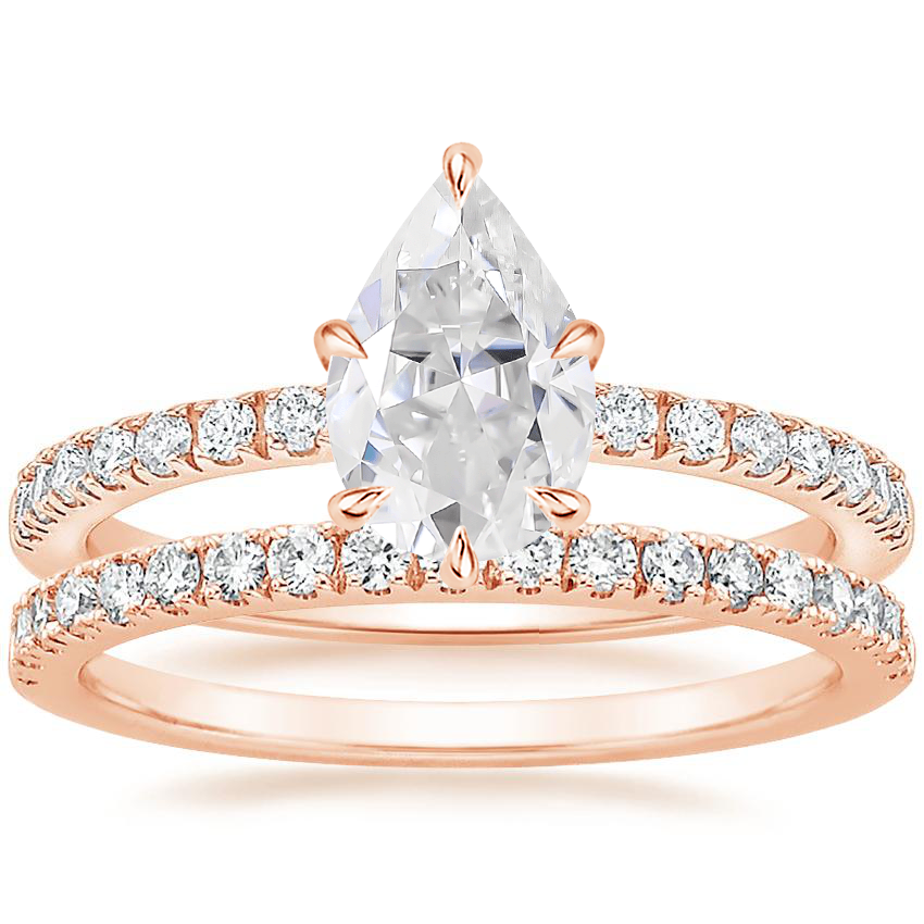 14KR Moissanite Poppy Diamond Ring (1/6 ct. tw.) with Bliss Diamond Ring (1/5 ct. tw.), top view