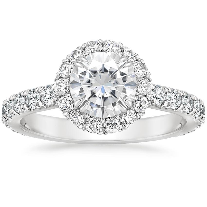 Moissanite Luxe Sienna Halo Diamond Ring (3/4 ct. tw.) in 18K White Gold