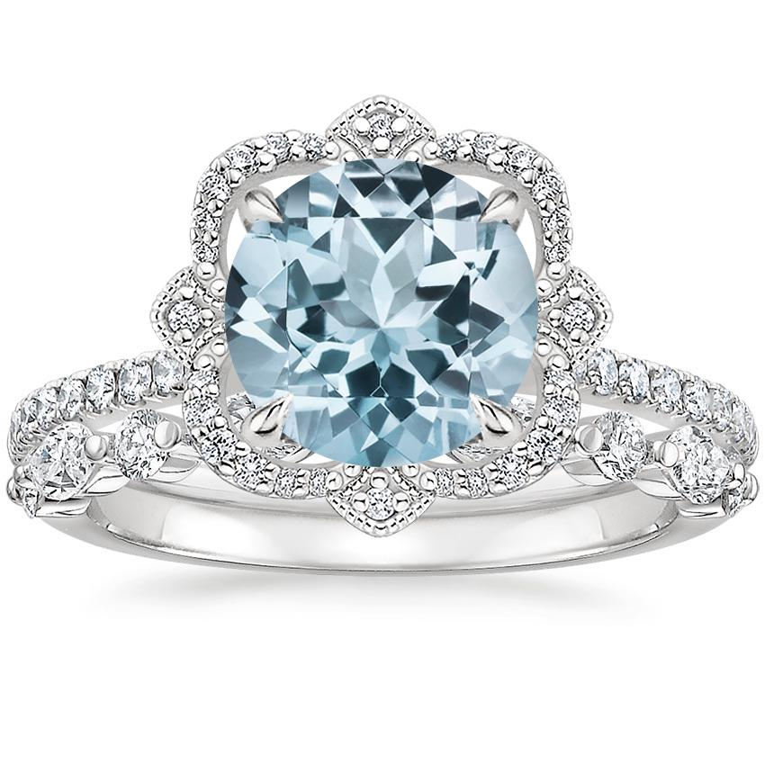 18KW Aquamarine Reina Diamond Ring (1/6 ct. tw.) with Versailles Diamond Ring (3/8 ct. tw.), top view