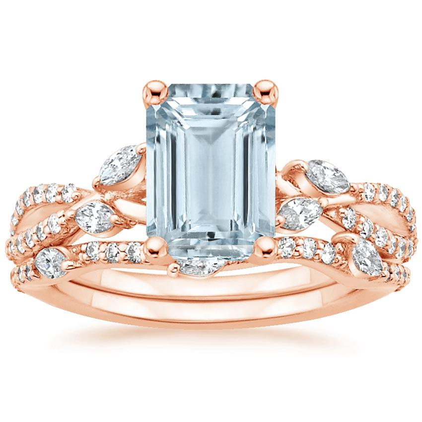 14KR Aquamarine Luxe Willow Bridal Set (1/2 ct. tw.), top view