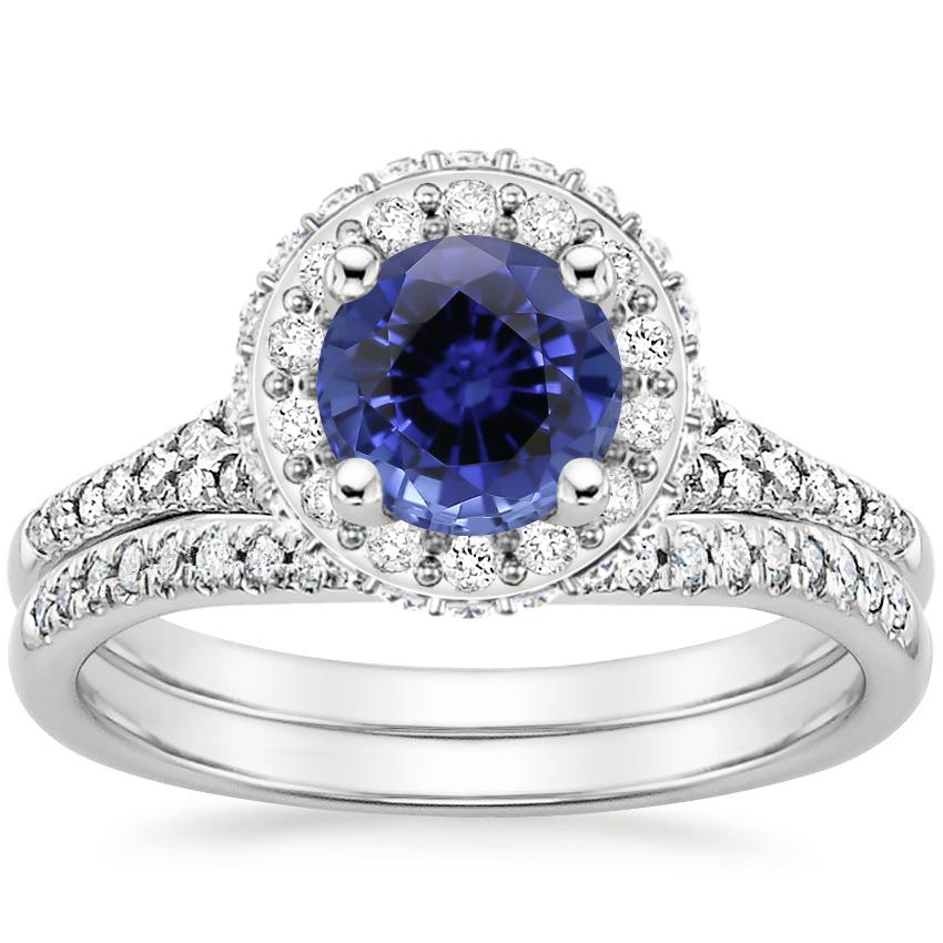 18KW Sapphire Circa Diamond Bridal Set (1/2 ct. tw.), top view