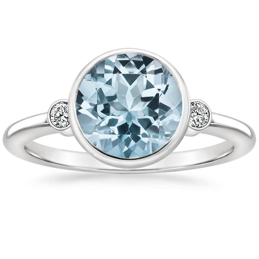 Aquamarine Mila Diamond Ring in 18K White Gold