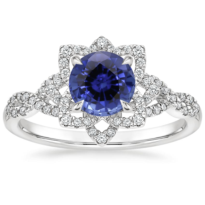 Sapphire Lily Diamond Ring in Platinum