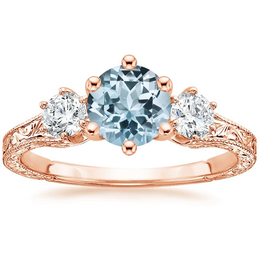 Rose Gold Aquamarine Three Stone Hudson Diamond Ring (1/3 ct. tw.)