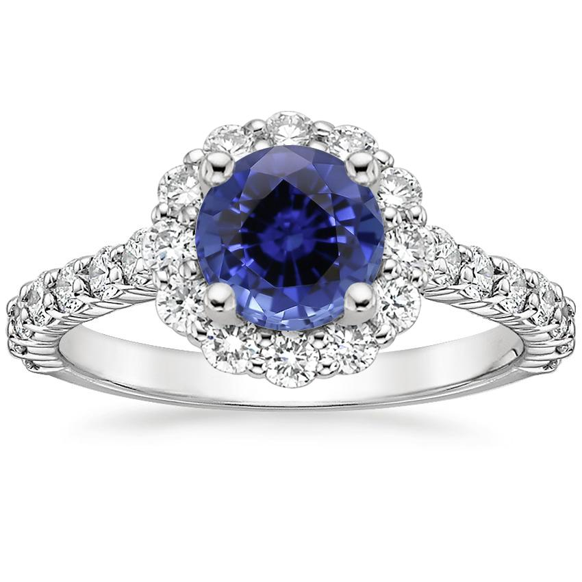 Sapphire Lotus Flower Diamond Ring with Side Stones (3/4 ct. tw.) in 18K White Gold