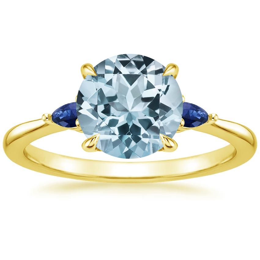 Yellow Gold Aquamarine Aria Ring with Sapphire Accents