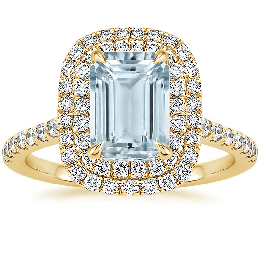 Yellow Gold Aquamarine Soleil Diamond Ring (1/2 ct. tw.)