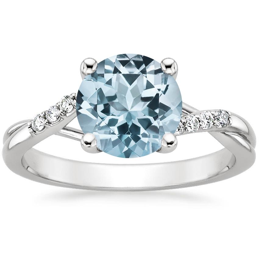 18k white gold aquamarine chamise diamond ring - Aquamarine Wedding Ring