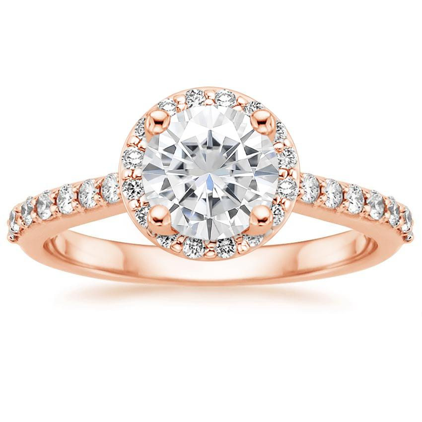 Rose Gold Moissanite Halo Diamond Ring with Side Stones (1/3 ct. tw.)