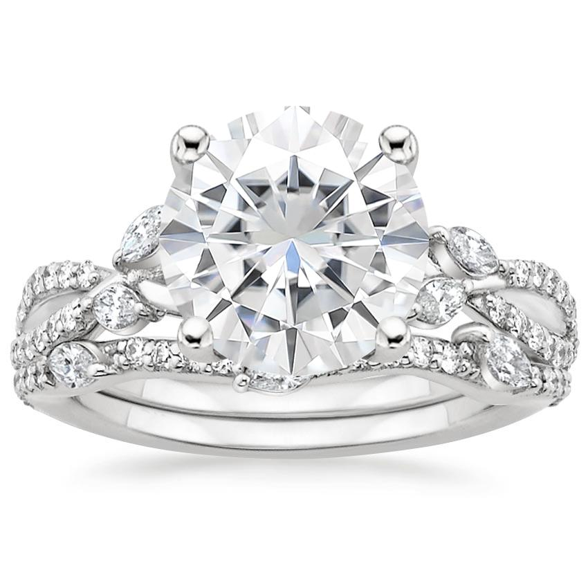 18KW Moissanite Luxe Willow Bridal Set (1/2 ct. tw.), top view