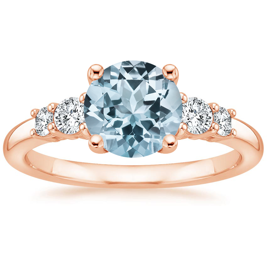 Rose Gold Aquamarine Rialto Diamond Ring (1/4 ct. tw.)