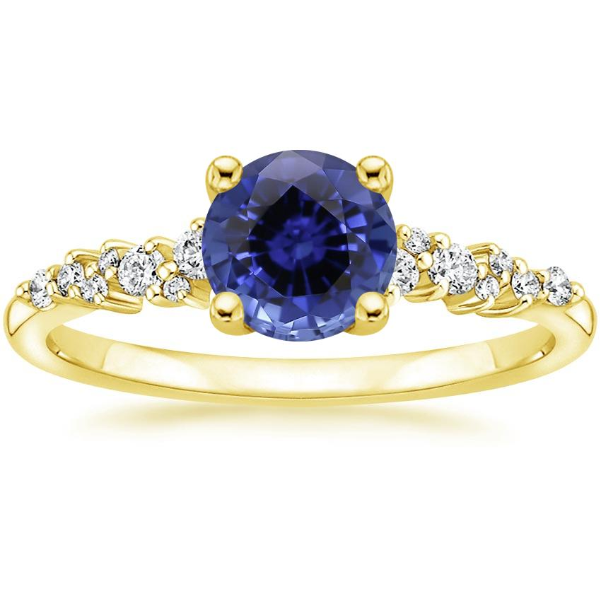Yellow Gold Sapphire Aurora Diamond Ring