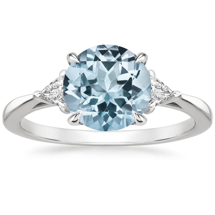 Aquamarine Esprit Diamond Ring in 18K White Gold