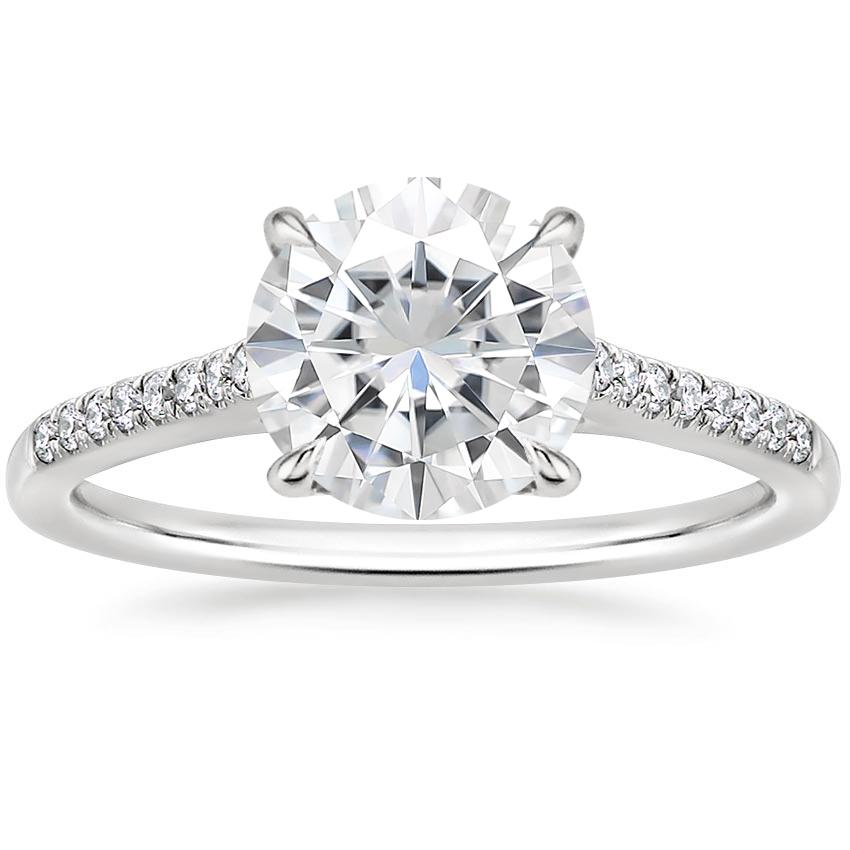 Moissanite Lissome Diamond Ring (1/10 ct. tw.) in 18K White Gold