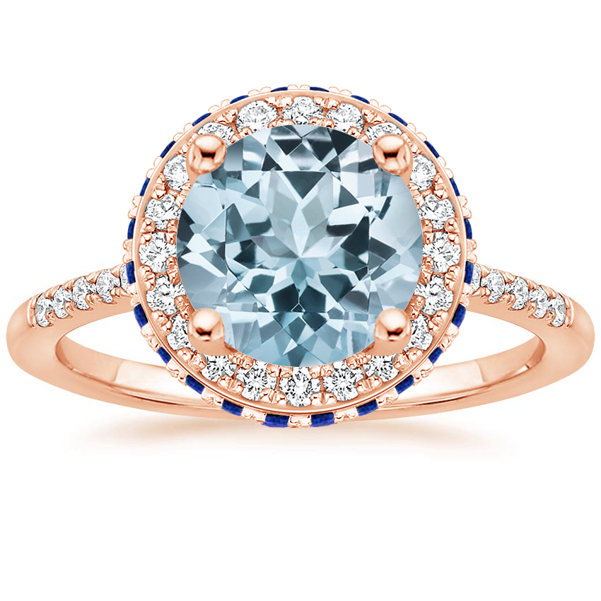 Rose Gold Aquamarine Circa Diamond Ring with Sapphire Accents (1/4 ct. tw.)