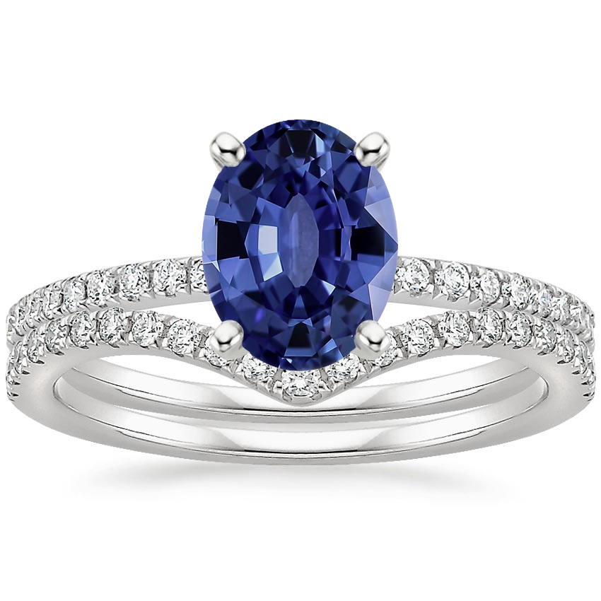 18KW Sapphire Ballad Diamond Ring (1/8 ct. tw.) with Flair Diamond Ring (1/6 ct. tw.), top view