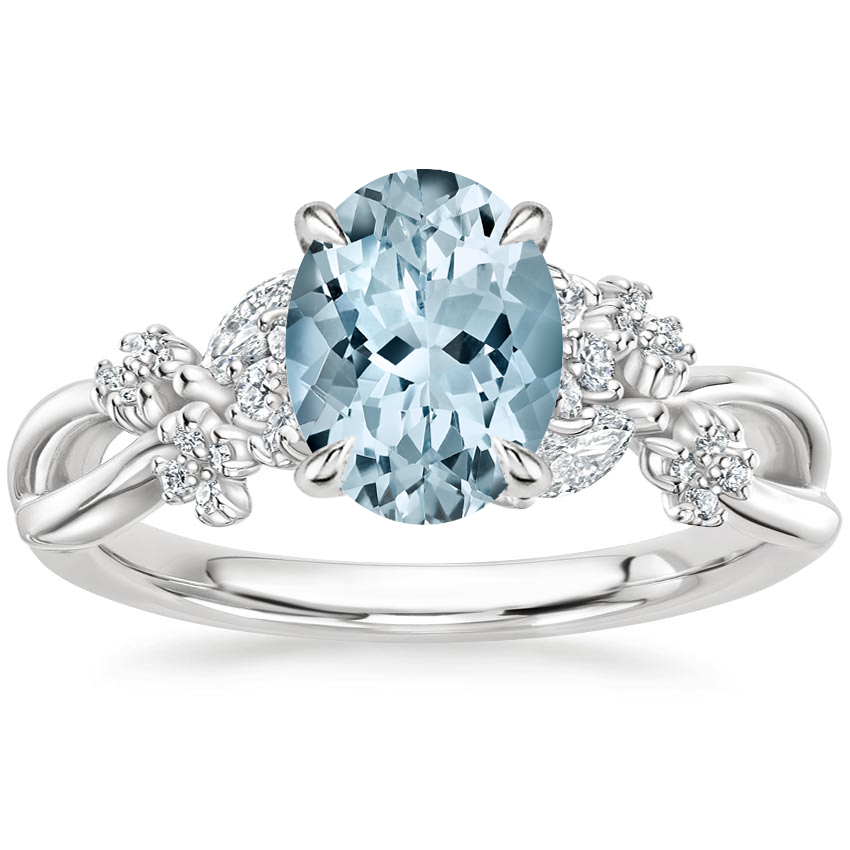 Aquamarine Summer Blossom Diamond Ring (1/4 ct. tw.) in 18K White Gold