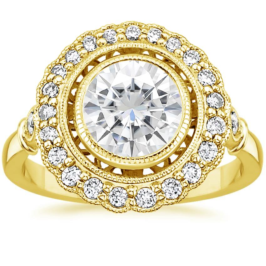 Yellow Gold Moissanite Bella Diamond Ring