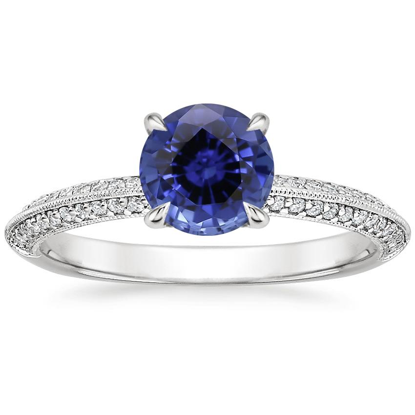 Sapphire Callista Diamond Ring in 18K White Gold