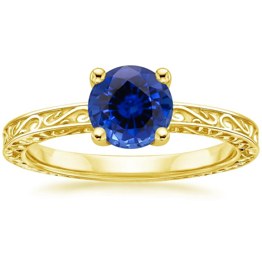 Yellow Gold Sapphire Delicate Antique Scroll Solitaire Ring