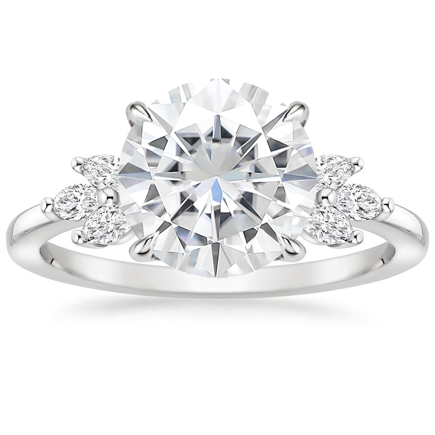 Moissanite Stella Diamond Ring in 18K White Gold