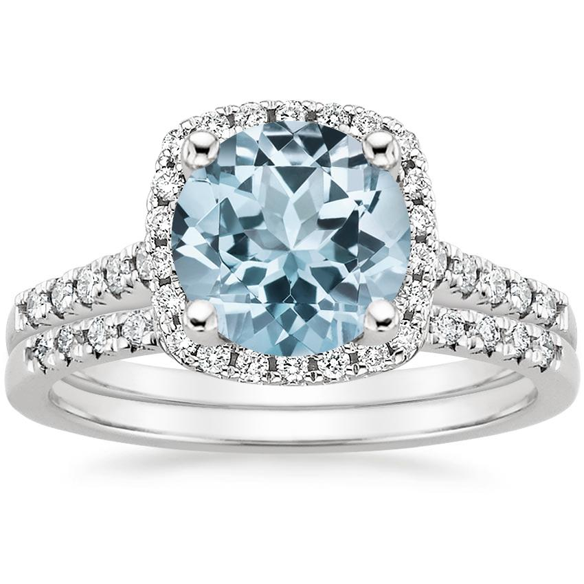 18KW Aquamarine Odessa Diamond Ring (1/5 ct. tw.) with Sonora Diamond Ring (1/8 ct. tw.), top view