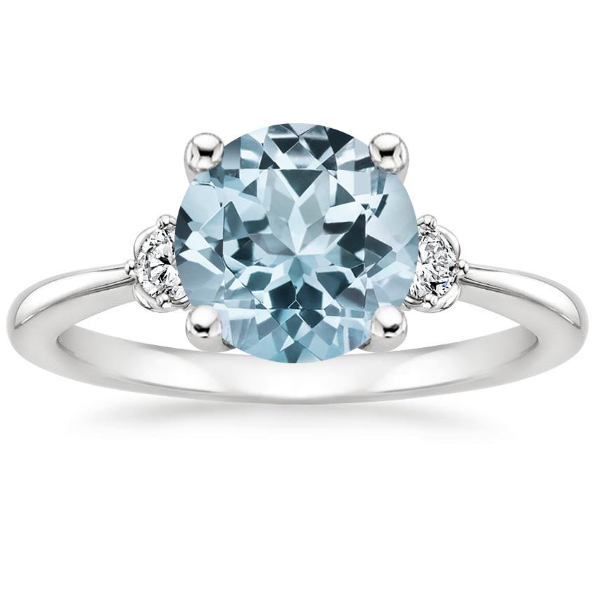 Aquamarine Blossom Diamond Ring (1/10 ct. tw.) in 18K White Gold