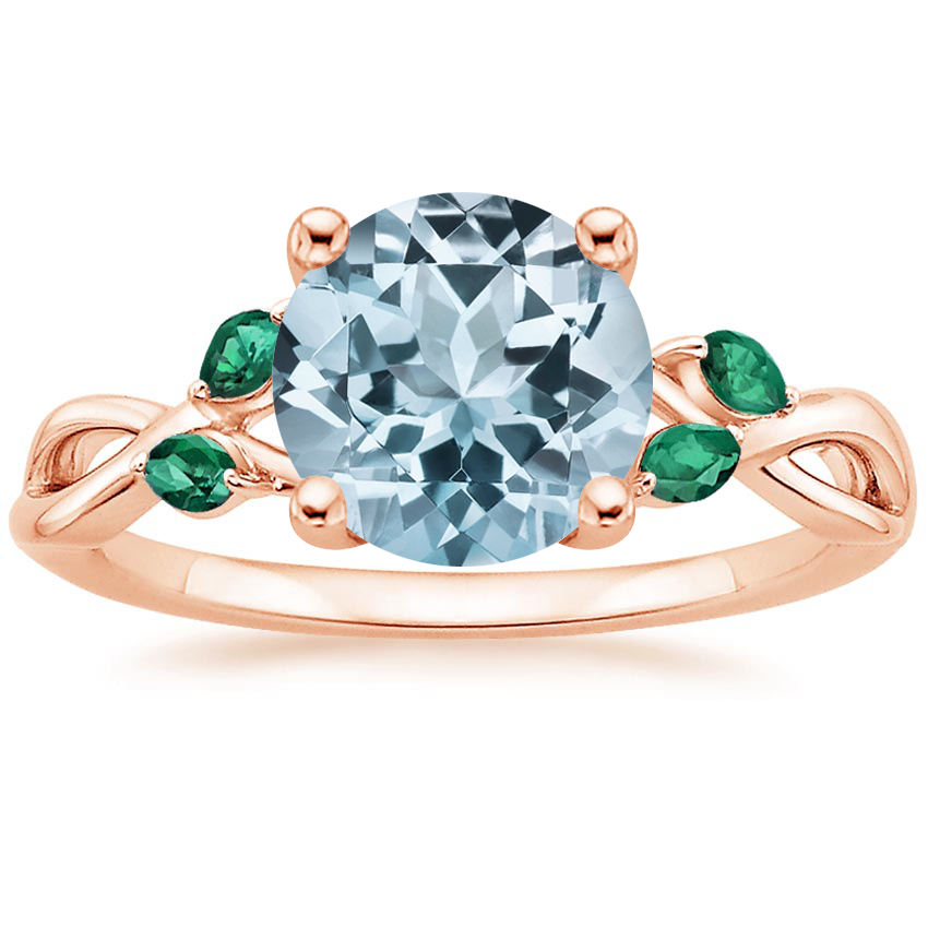 Rose Gold Aquamarine Willow Ring With Lab Emerald Accents