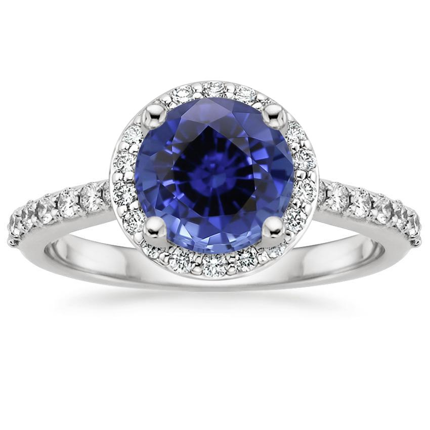 Sapphire Halo Diamond Ring with Side Stones (1/3 ct. tw.) in 18K White Gold
